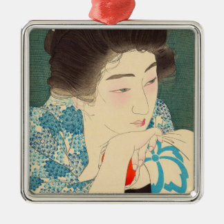 Twelve Aspects of Women, Morning Hair Torii Kotond Silver-Colored Square Decoration