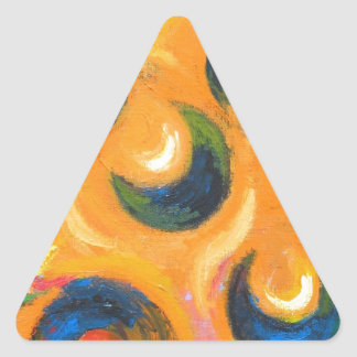 Twelve Black Crescents in the Orange Sky Triangle Sticker