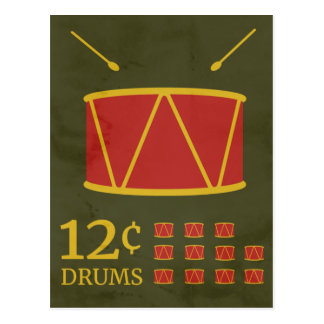Twelve Drummers Drumming Postcard