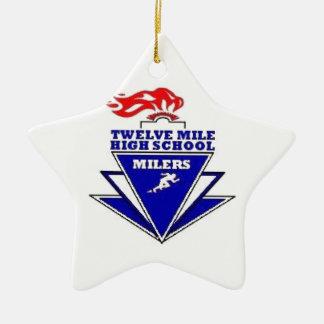 Twelve Mile, IN. High School Ceramic Star Decoration