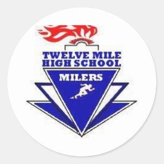 Twelve Mile, IN. High School Round Sticker