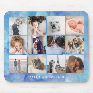 Twelve Photo Collage | Watercolor Blue Mouse Pad