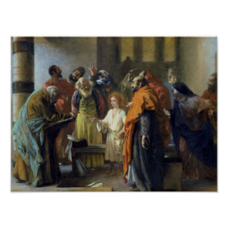 Twelve-year old Jesus in the Temple, 1851 Poster
