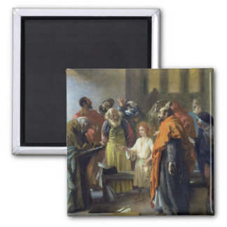 Twelve-year old Jesus in the Temple, 1851 Square Magnet