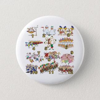 twelves days christmas song cartoon 6 cm round badge