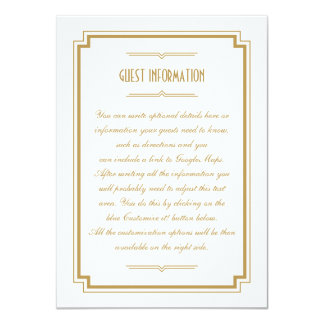 Twenties Art Deco Gold Frame Wedding Insert Card 11 Cm X 16 Cm Invitation Card