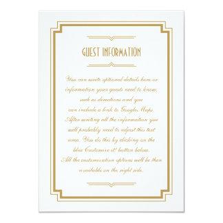 Twenties Art Deco Gold Frame Wedding Insert Card 11 Cm X 16 Cm Invitation Card