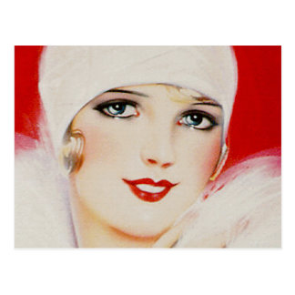 Twenties Beauty in White and Red Postcard