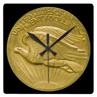 Twenty Dollar Gold Piece Double Eagle Money 1907 Square Wall Clock