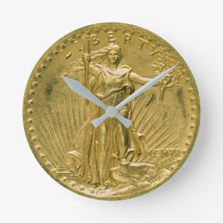 Twenty Dollar Gold Piece Liberty Sculpture 1907 Round Clock