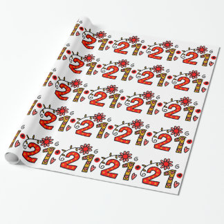 Twenty First Cartoon Birthday Age Wrapping Paper