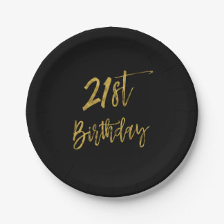 Twenty First Gold Foil Birthday 7 Inch Paper Plate