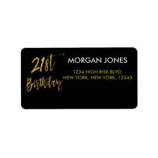 Twenty First Gold Foil Birthday Address Label
