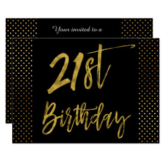 Twenty First Gold Foil Birthday Invitation