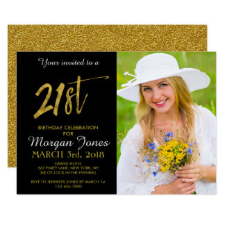 Twenty First Gold Foil Birthday Invitation