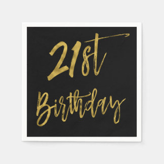 Twenty First Gold Foil Birthday Napkins Disposable Napkins
