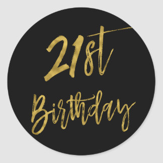 Twenty First Gold Foil Birthday Sticker