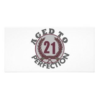 Twenty One and aged to Perfection Birthday Photo Card Template