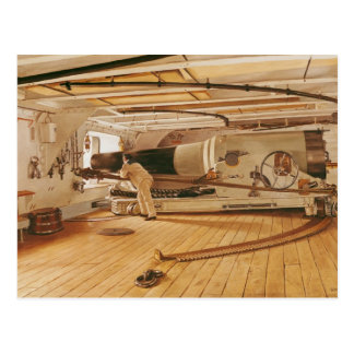 Twenty-Seven Pound Cannon on a Battleship Postcard