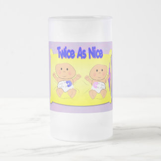 Twice As Nice 16 Oz Frosted Glass Beer Mug