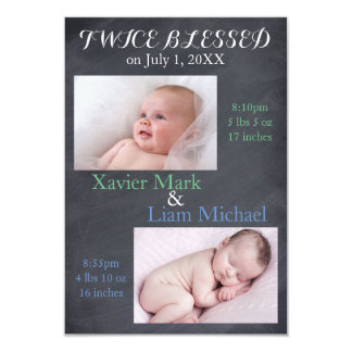 Twice Blessed Twin Boys - 3x5 Birth Announcement