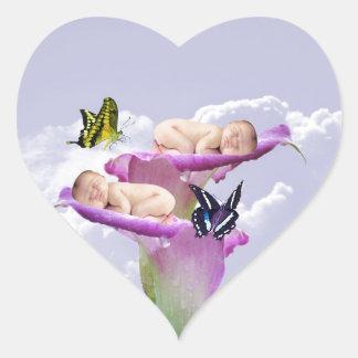 Twice the joy with baby twins shower invitation heart sticker