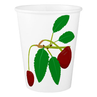 Twig with two cherries paper cup