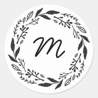 Twig Wreath Monogram Sticker
