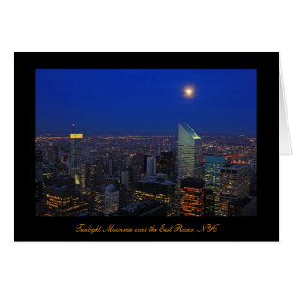 Twilght: Moonrise over the East River, NYC Card