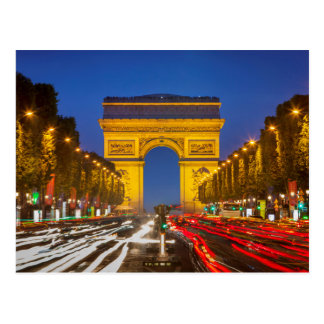 Twilight Along Champs Elysee Postcard