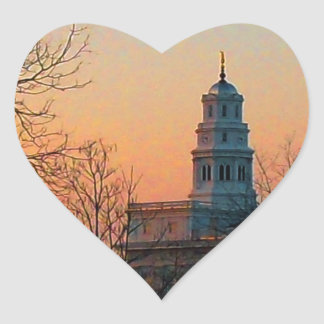 Twilight at the Nauvoo Temple Heart Sticker