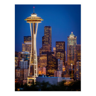 Twilight Blankets The Space Needle And Downtown 2 Postcard