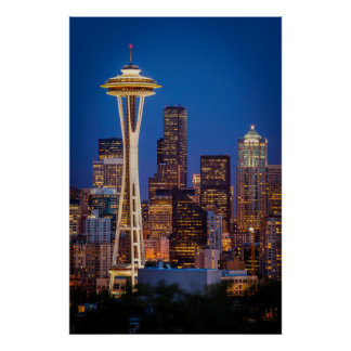Twilight Blankets The Space Needle And Downtown 2 Poster