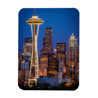 Twilight Blankets The Space Needle And Downtown 2 Rectangular Photo Magnet