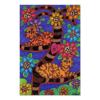 Twilight Cat Tree of Life Folk Art Poster
