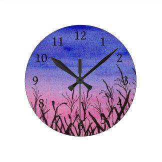 Twilight Corn Field Round Clock