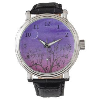 Twilight Crescent Moon & Peculiar Tree Wrist Watch