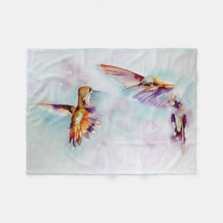 """Twilight Dance"" Hummingbird Print Fleece Blanket"