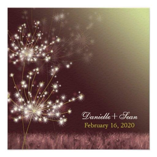 Twilight Dandelion Autumn Garden Wedding Invites