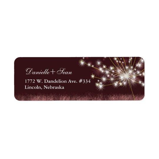 Twilight Dandelion Modern Wedding Return Address Label