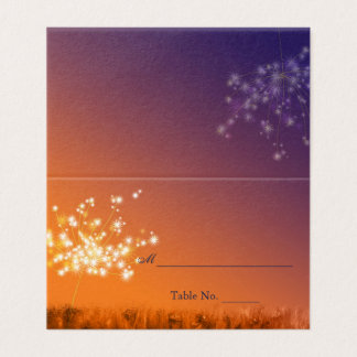 Twilight Dandelions Fall Wedding Place Card
