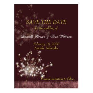 Twilight Dandelions Wedding Save the Date Postcard