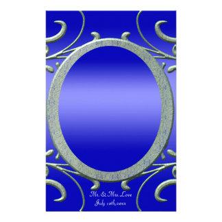 Twilight Evening Metallic Silver Scrolls Wedding Personalised Stationery