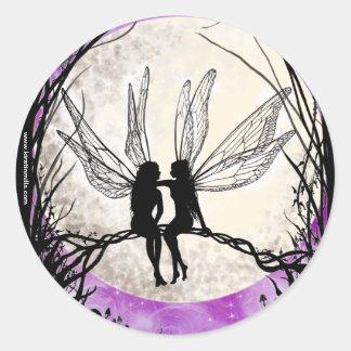 Twilight Fairy Art Stickers, Fairy Silhouettes Round Sticker