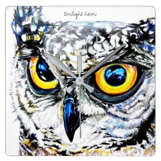Twilight Hour Owl Square Wall Clock