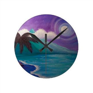 Twilight in Paradise Round Clock