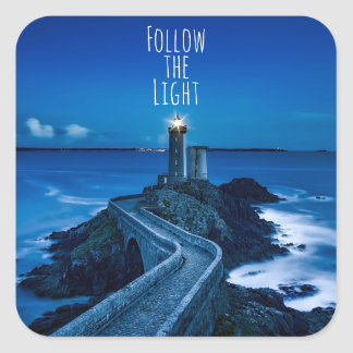 Twilight Lighthouse Follow the Light Square Sticker