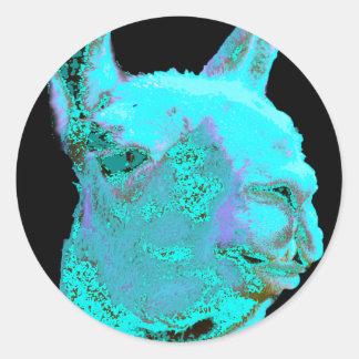 Twilight Llama, turqoise llama, llama head Round Sticker