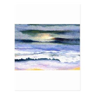 Twilight Ocean Waves Beach Surf Decor Art Postcard