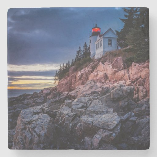Twilight Over Bass Harbor Lighthouse, Acadia Stone Coaster